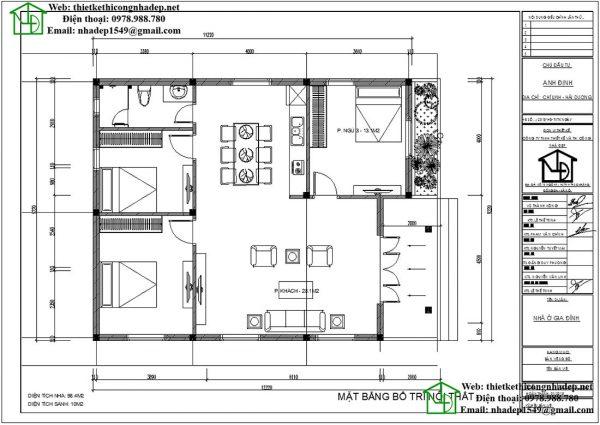 Mặt bằng nội thất biệt thự 1 tầng tân cổ điển NDBT1T46