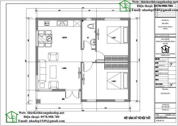 Mặt bằng nội thất nhà cấp 4 70m2 NDNC457