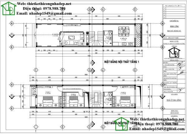 Mặt bằng nội thất tầng 1 và tầng 2 nhà phố 3 tầng NDNP3T16