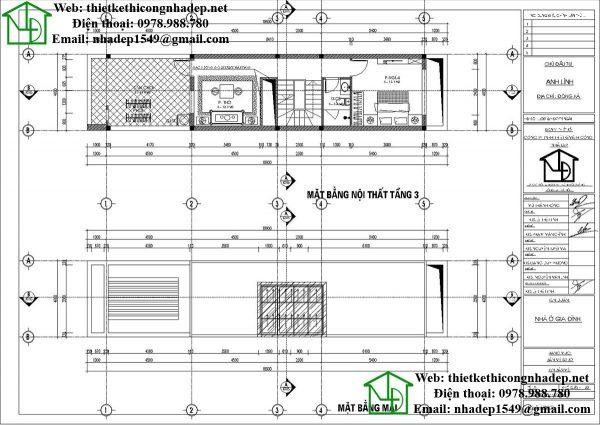 Mặt bằng nội thất tầng 3 và tầng mái nhà phố 3 tầng NDNP3T16