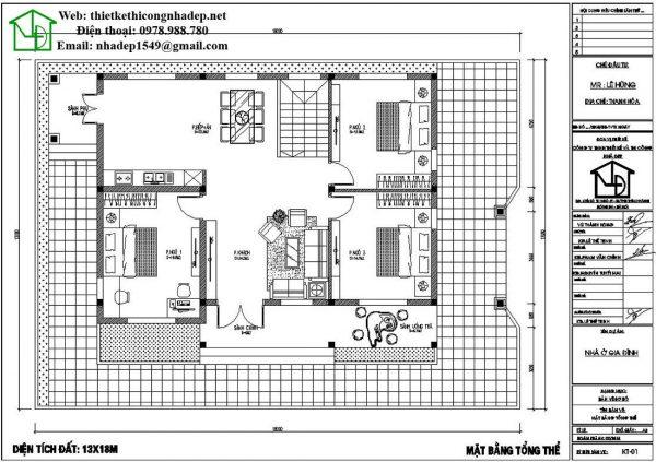 Mặt bằng tầng 1 biệt thự vườn 1 tầng mái bằng NDBT1T45
