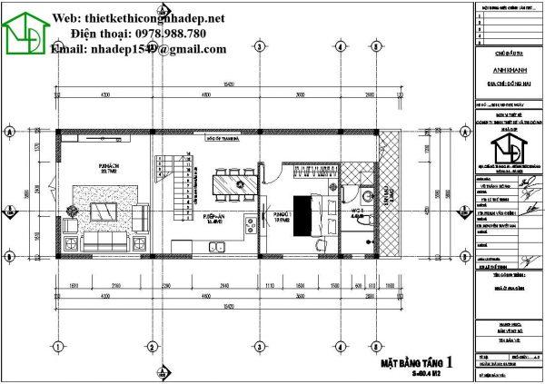 Mặt bằng tầng 1 nhà cấp 4 gác lửng NDNC456