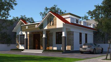 Biệt thự vườn 1 tầng mái bằng, thiết kế nhà 1 tầng 3 phòng ngủ NDBT1T45