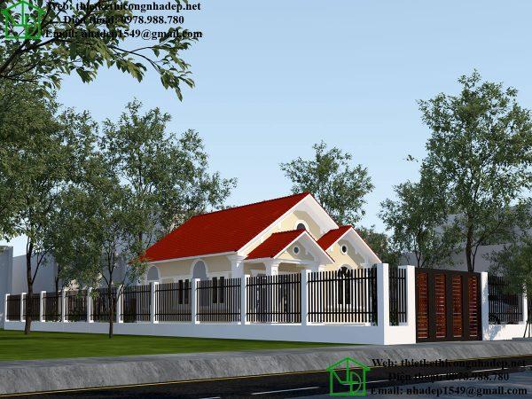 Thiết kế biệt thự 1 tầng kiểu pháp NDBT1T46