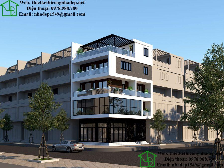 Thiết kế biệt thự 4 tầng hiện đại, nhà ở kết hợp kinh doanh NDNP4T8