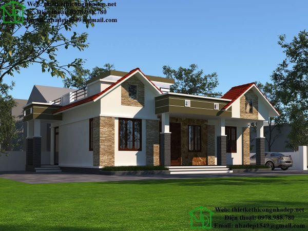 Thiết kế nhà 1 tầng 3 phòng ngủ NDBT1T45