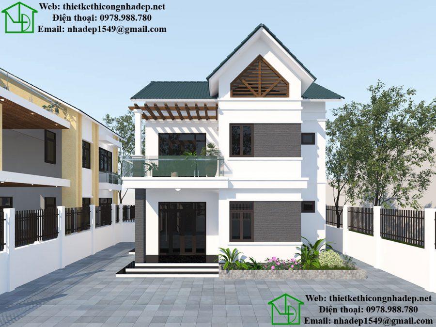 Biệt thự nhà vườn 2 tầng, mẫu nhà biệt thự 2 tầng đẹp tại Thái Bình NDBT2T36
