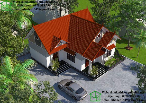 Biệt thự vườn 1 tầng mái thái tại Thường Tín DBT1T48