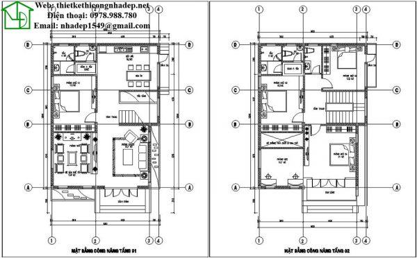 Mặt bằng bố trí nội thất biệt thự 2 tầng đẹp NDBT2T35