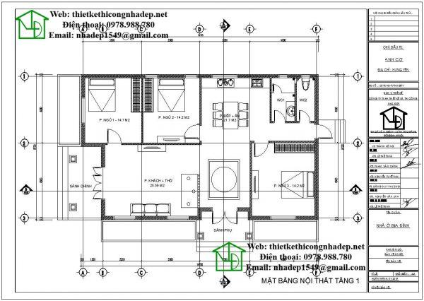 Mặt bằng nội thất biệt thự 1 tầng đẹp DBT1T49