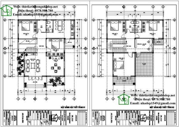 Mặt bằng nội thất biệt thự 2 tầng hiện đại NDBT2T37