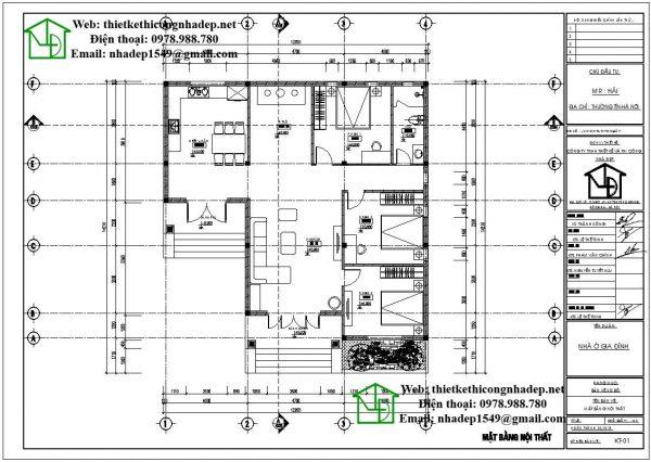 Mặt bằng nội thất biệt thự vườn 1 tầng mái thái DBT1T48