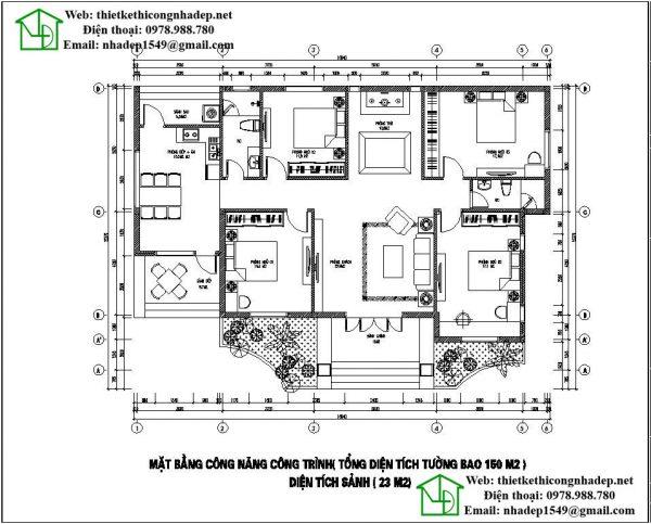 Mặt bằng nội thất biệt thự vườn 1 tầng tại Bắc Giang DBT1T47