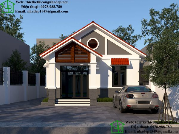 Mẫu nhà cấp 4 mái thái, thiết kế nhà đẹp 110 m2 tại Thái Bình NDNC458