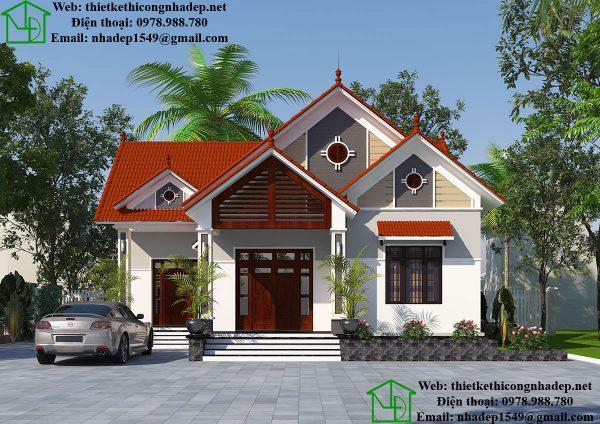Thiết kế biệt thự 1 tầng mái thái, biệt thự vườn đẹp tại Thường Tín DBT1T48