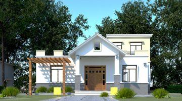 Biệt thự 1 tầng mái bằng, kiểu nhà đẹp 1 tầng tại Thái Nguyên DBT1T53