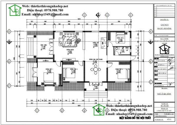 Mặt bằng bố trí nội thất biệt thự 1 tầng đẹp DBT1T50