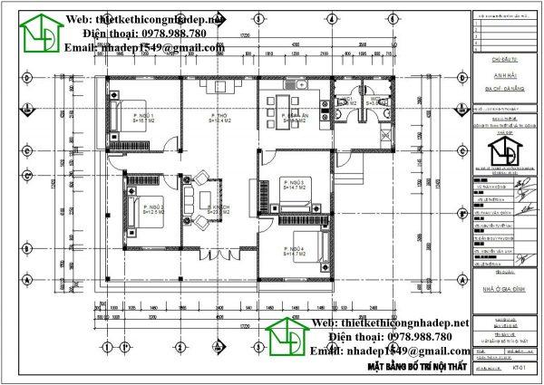 Mặt bằng bố trí nội thất biệt thự vườn 1 tầng DBT1T51