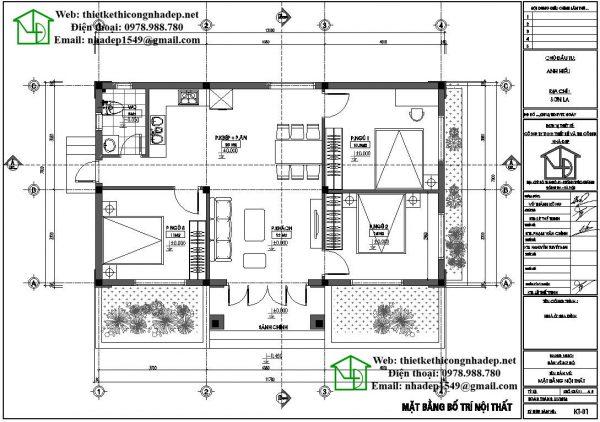 Mặt bằng bố trí nội thất biệt thự vườn 1 tầng DBT1T52