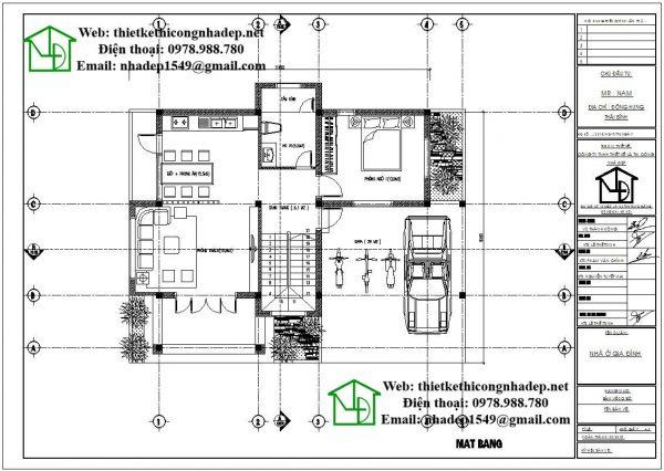 Mặt bằng bố trí nội thất tầng 1 NDBT2T38