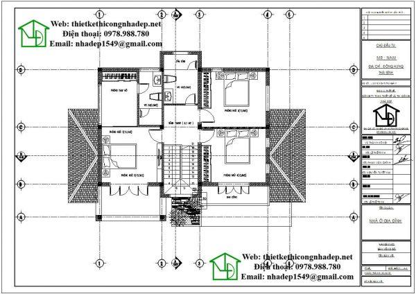 Mặt bằng bố trí nội thất tầng 2 NDBT2T38