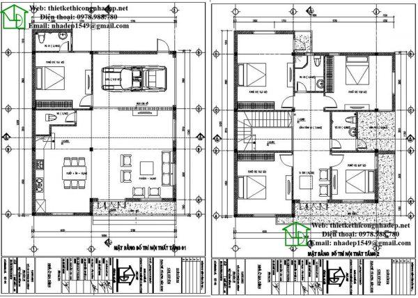 Mặt bằng nội thất biệt thự 2 tầng NDBT2T39