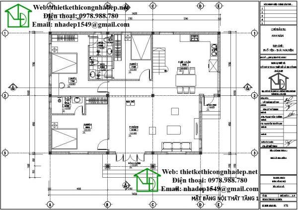 Mặt bằng tầng 1 biệt thự 1 tầng mái bằng DBT1T53