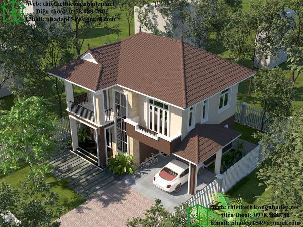 Mẫu nhà biệt thự 2 tầng mái thái NDBT2T38