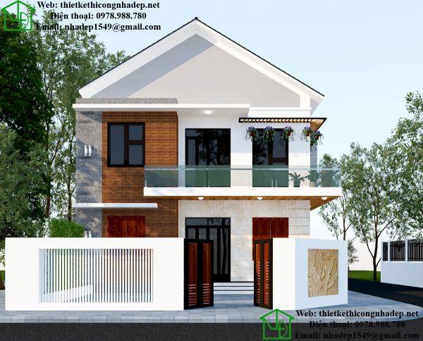 Mẫu nhà biệt thự 2 tầng mái thái NDBT2T39