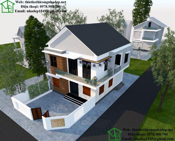 Phối cảnh tổng thể biệt thự 2 tầng đẹp NDBT2T39