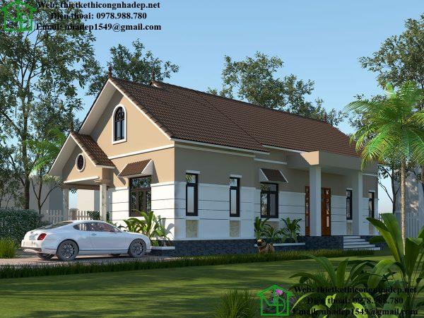 Phương án 2 mẫu nhà 1 tầng đẹp DBT1T50