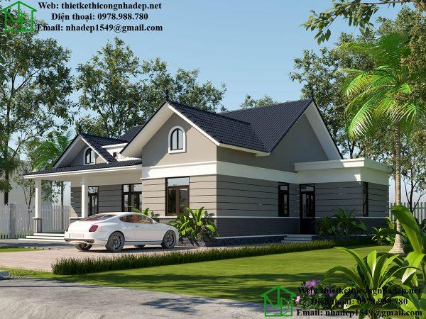 Thiết kế biệt thự nhà vườn 1 tầng đẹp DBT1T51