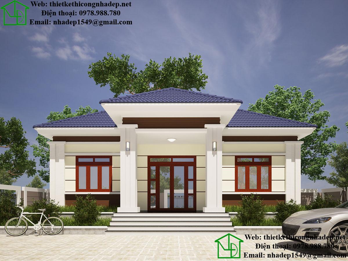 Thiết kế nhà vườn 1 tầng DBT1T52