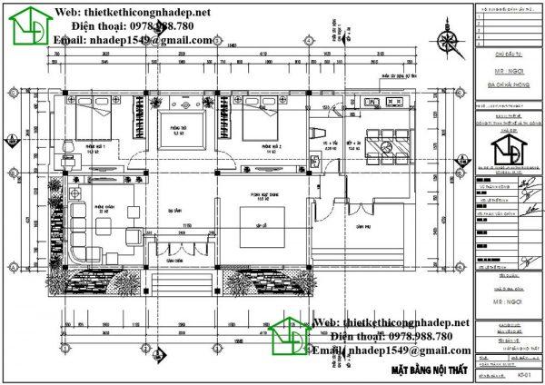 Mặt bằng bố trí nội thất DBT1T55
