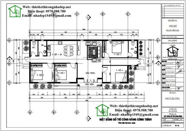 Mặt bằng bố trí nội thất nhà vườn 1 tầng DBT1T56