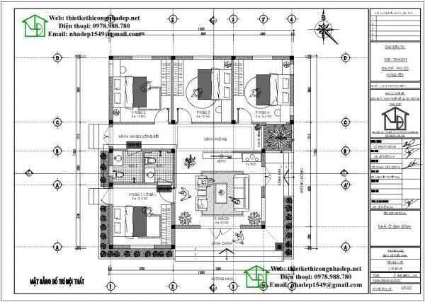 Mặt bằng nội thất biệt thự 1 tầng hiện đại DBT1T59