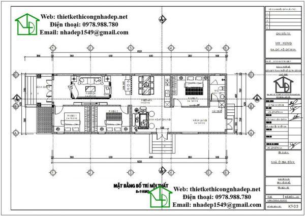 Mặt bằng nội thất mẫu nhà 1 tầng mái thái DBT1T54