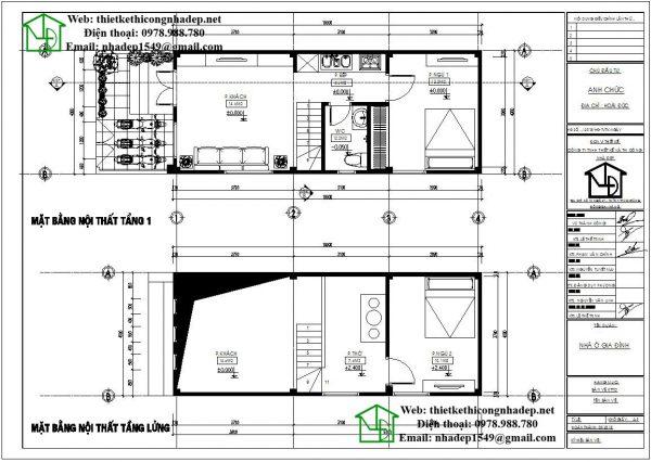 Mặt bằng nội thất nhà cấp 4 có gác lửng NDNC459