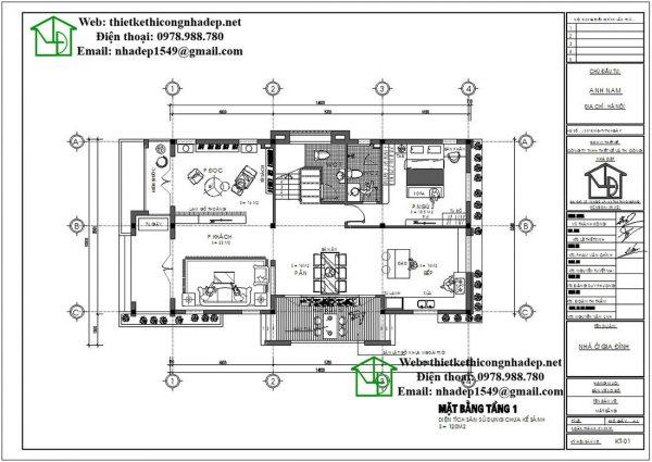 Mặt bằng nội thất tầng 1 biệt thự 2 tầng NDBT2T41