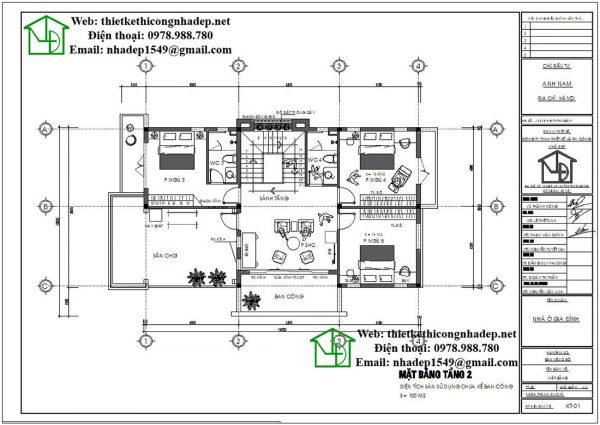 Mặt bằng nội thất tầng 2 biệt thự 2 tầng NDBT2T41