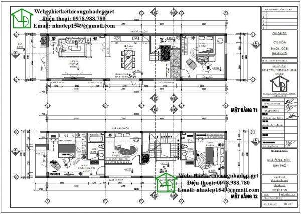 mặt bằng tầng 1, tầng 2 nhà phố 3 tầng hiện đại NDNP3T17