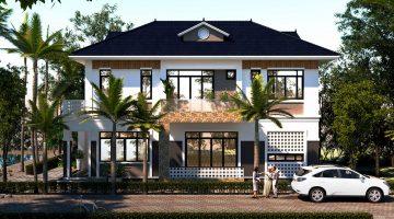 Biệt thự 2 tầng phong cách Châu Âu, biệt thự 2 tầng mái thái tại Hà Nội NDBT2T40