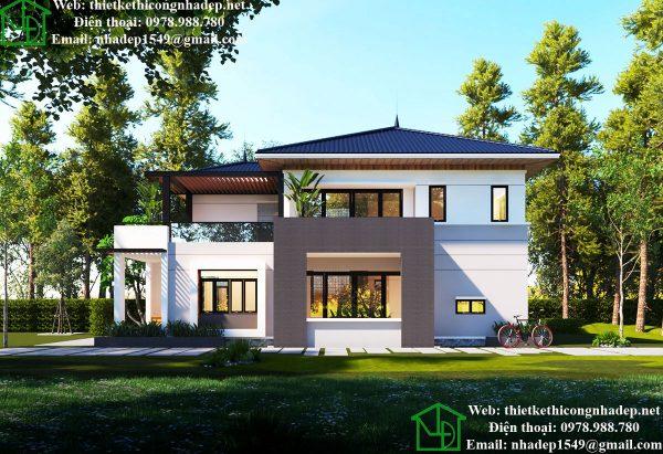 Thiết kế biệt thự 2 tầng đẹp, mẫu biệt thự 2 tầng mái thái tại Hà Nội NDBT2T41