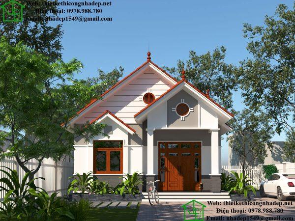Mẫu nhà biệt thự 1 tầng đẹp, mẫu biệt thự nhà vườn 1 tầng đẹp tại Hà Tĩnh DBT1T57