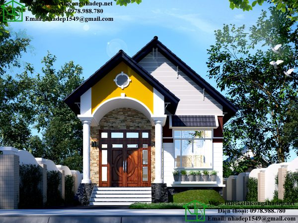 Thiết kế nhà 1 tầng, mẫu nhà đẹp 1 tầng mái thái tại Sài Gòn DBT1T54