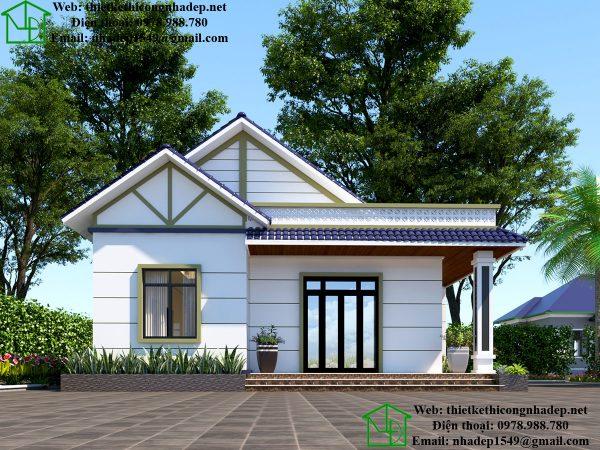 Mẫu nhà mái thái 1 tàng tại Hưng Yên DBT1T59