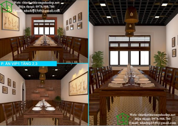 Phòng ăn vip tại tầng 2 và tầng 3 NDNH2