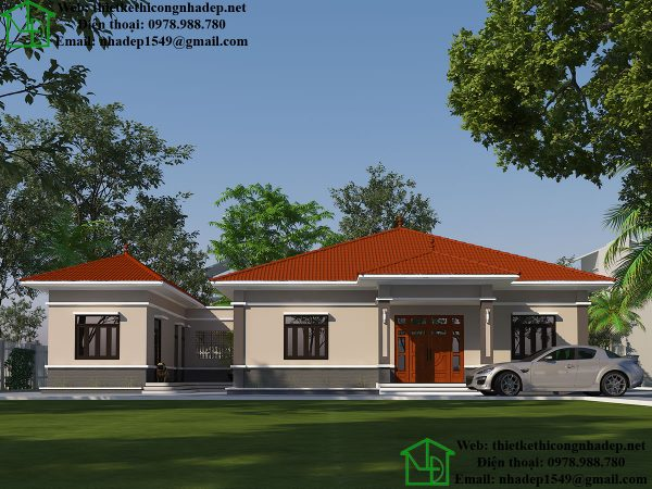Thiết kế biệt thự 1 tầng hiện đại, nhà mái thái 1 tầng tại Thái Nguyên DBT1T58