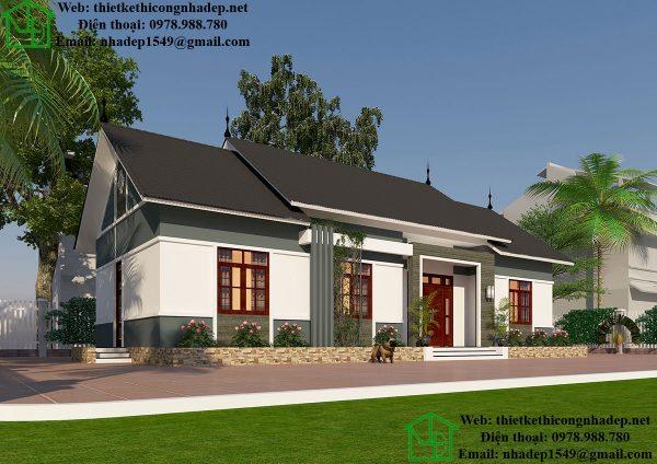 Thiết kế biệt thự vườn 1 tầng DBT1T56