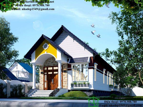 Thiết kế nhà 1 tầng DBT1T54